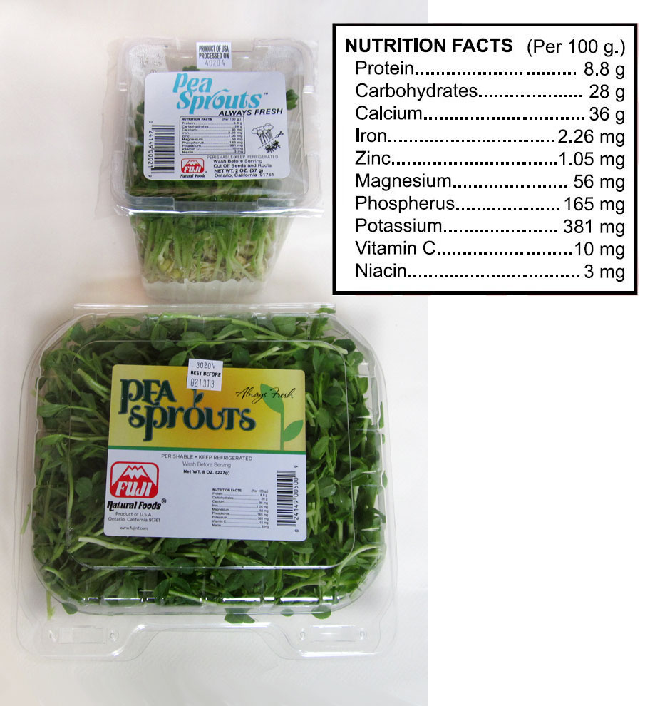 pea sprouts package
