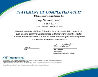 NSF International Audit Certificate